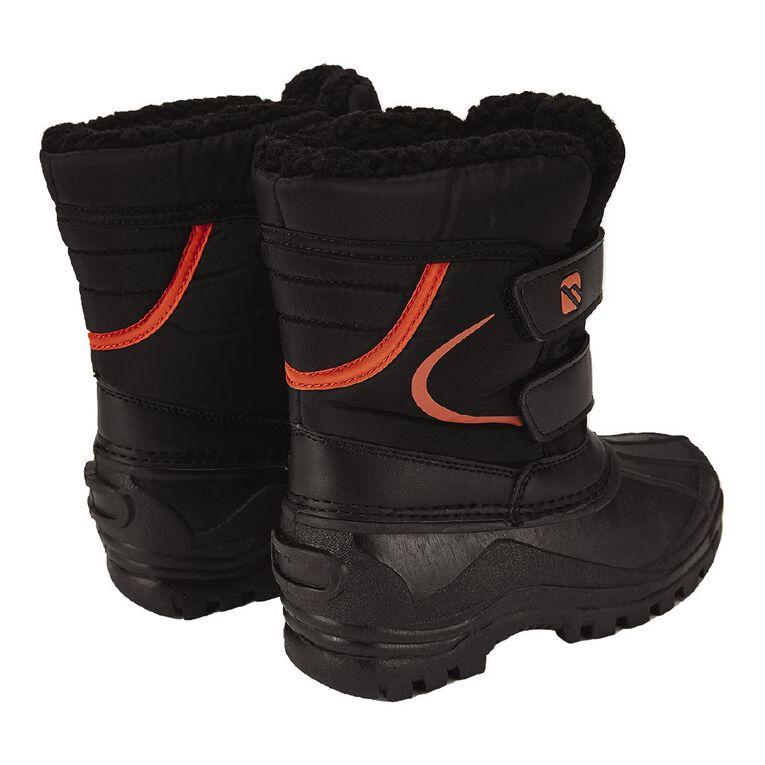 Young Original Kids' Sleet Snow Boots, Black/Orange, hi-res