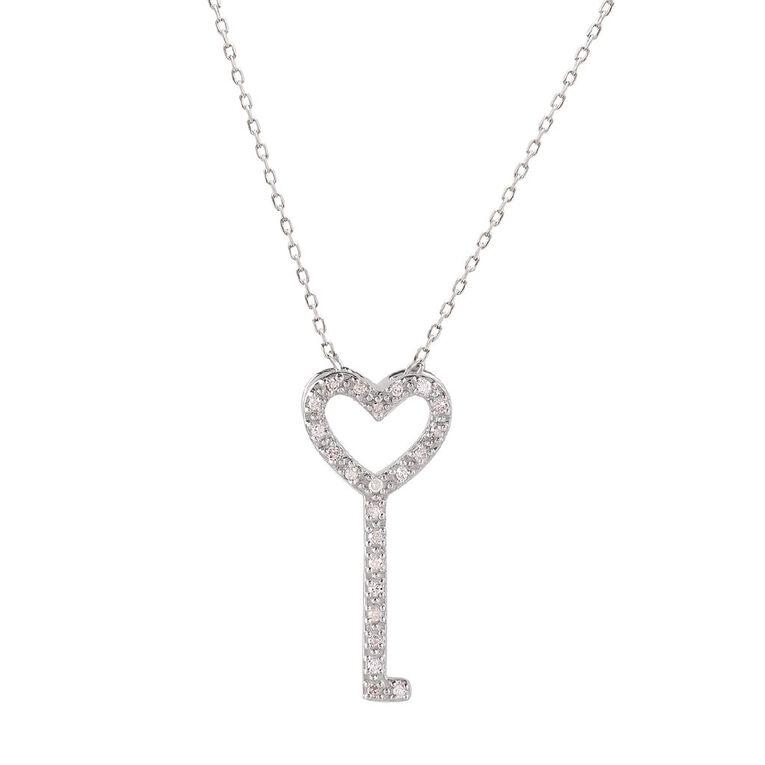 0.05 Carat Diamond Sterling Silver Heart Key Necklace, , hi-res