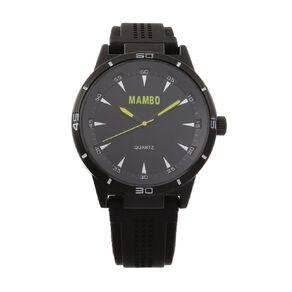 Mambo Mens Analogue Silicone Strap Watch - Black