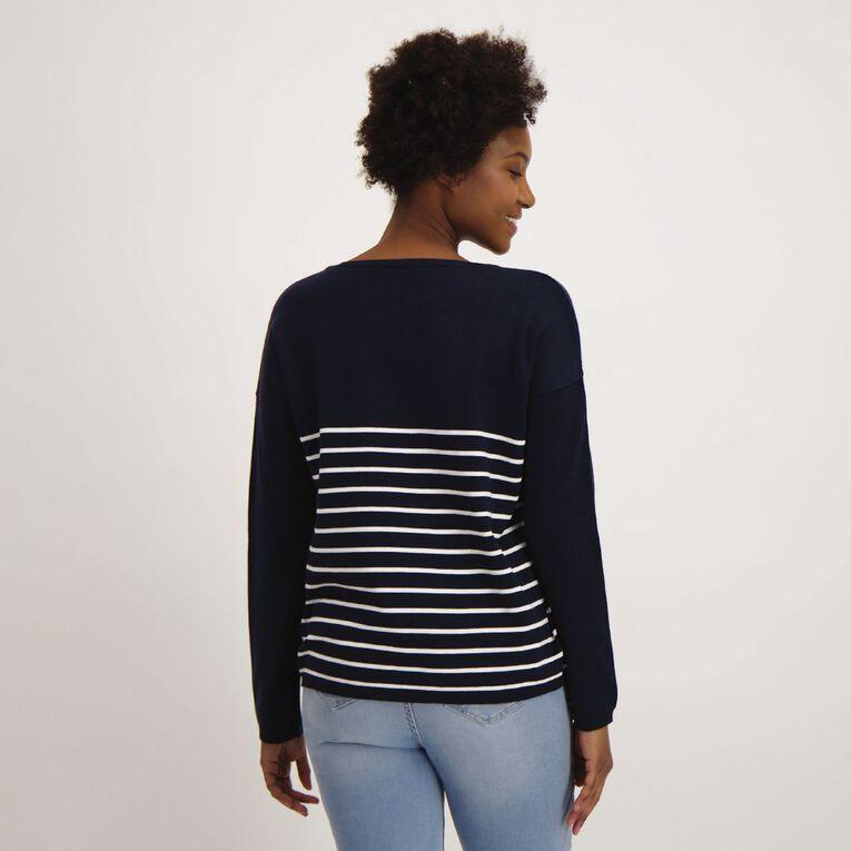 H&H Women's Long Sleeve Drop Shoulder V Neck, Blue Dark, hi-res