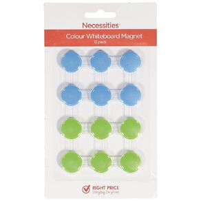 Necessities Brand Colour Whiteboard Magnets 12 Piece