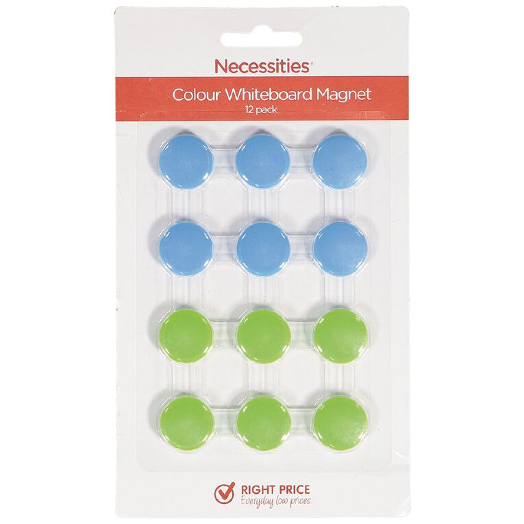 Necessities Brand Colour Whiteboard Magnets 12 Piece, , hi-res