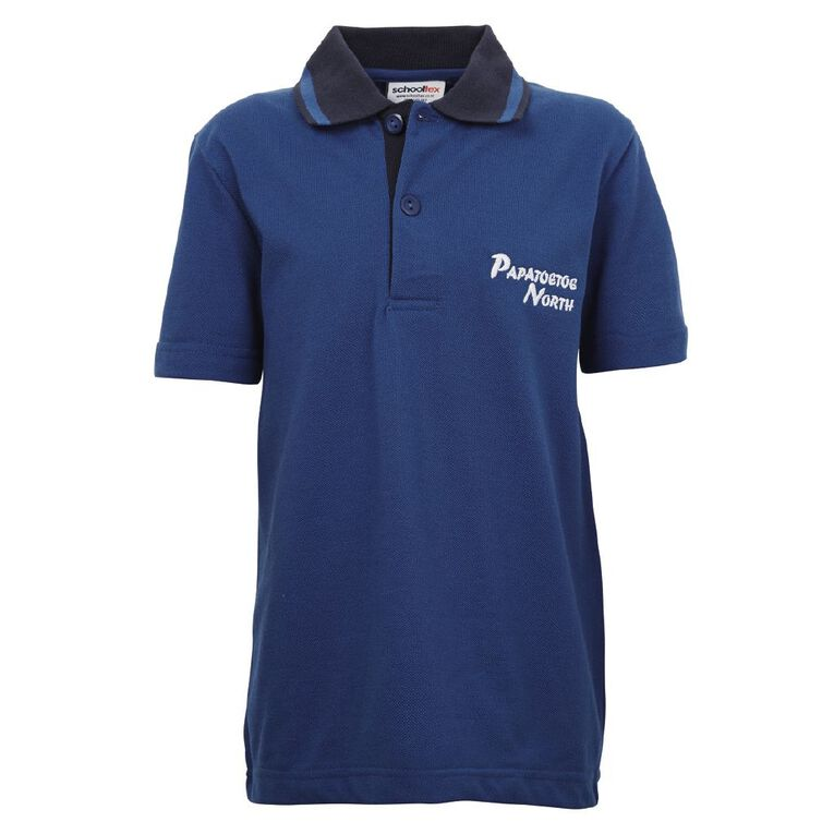 Schooltex Papatoetoe North Short Sleeve Polo with Embroidery, Royal/Navy, hi-res