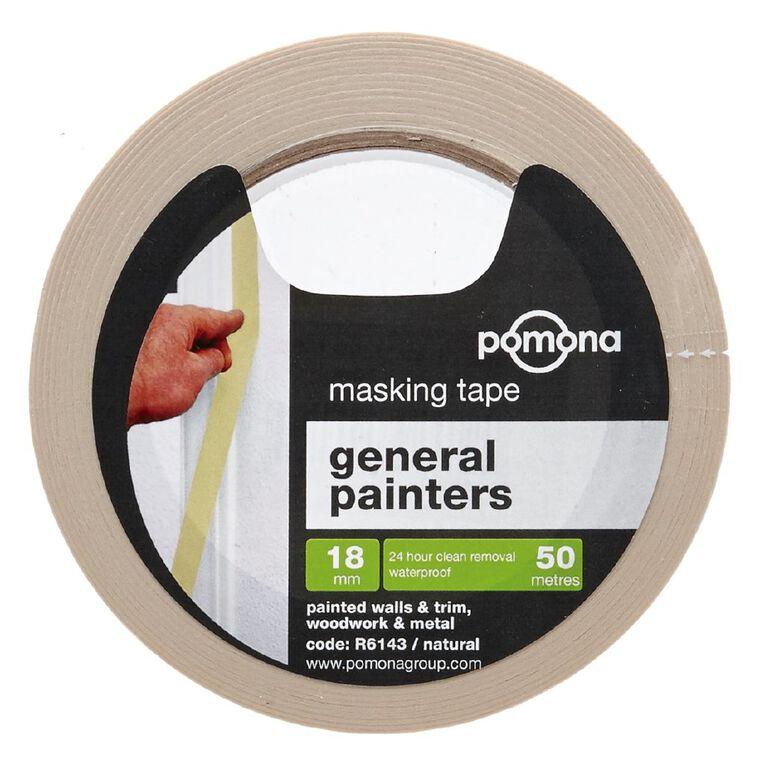 Pomona Masking Tape General Purpose White 18mm x 50m, , hi-res