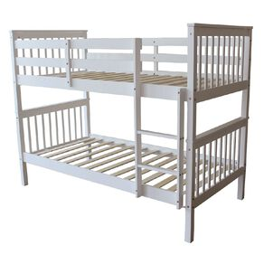 Living & Co Pine Wood Bunk Bed White Single