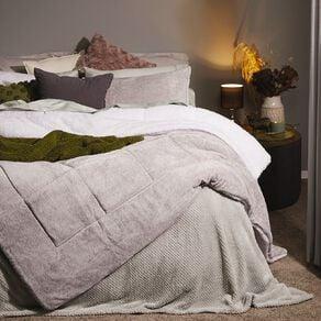 Living & Co Comforter Set Plush Sherpa Reverse Blizzard Charcoal Queen