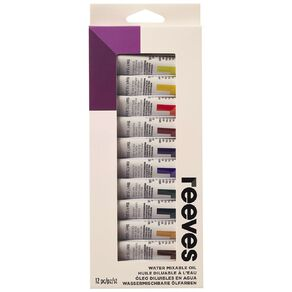 Reeves Watermixable Oil Colours 12 Pack Multi-Coloured