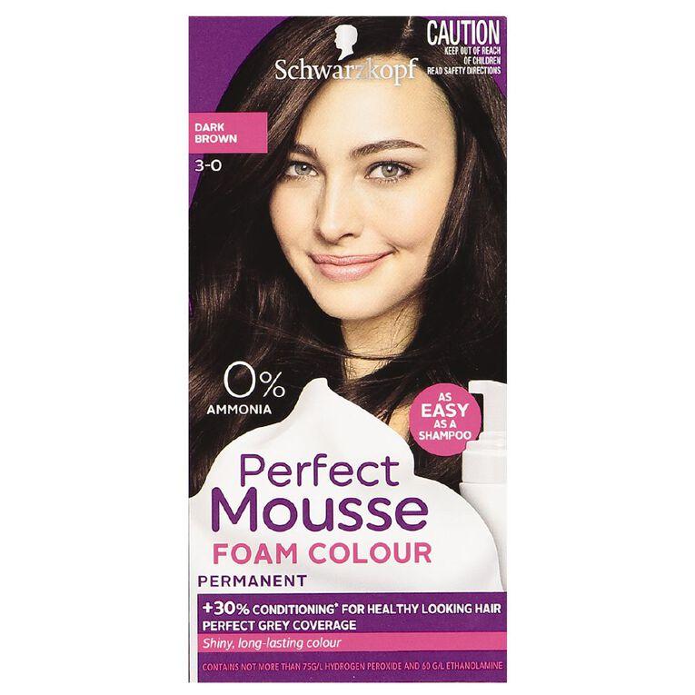Schwarzkopf Perfect Mousse Hair Colour 3-0 Dark Brown, , hi-res