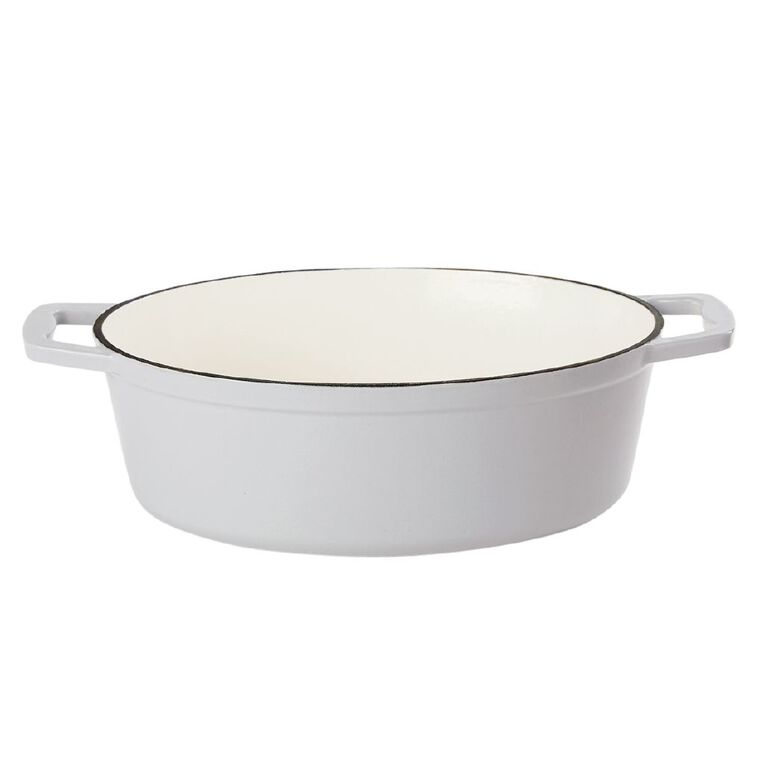 Living & Co Cast Iron Casserole Dish Oval 5.2L Light Grey, , hi-res