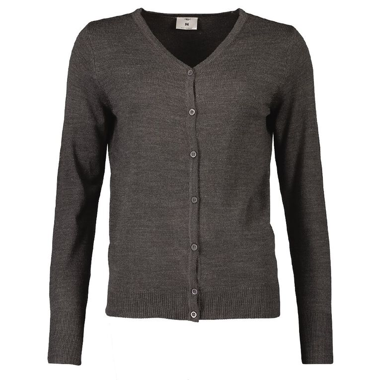 H&H Women's Button Through Cardigan, Grey Marle, hi-res image number null