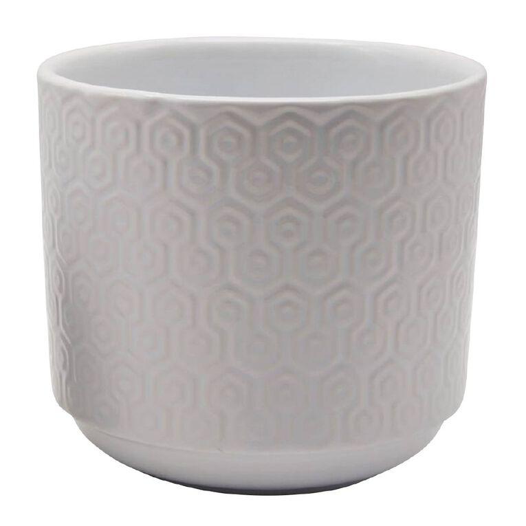 Kiwi Garden Hex Textured Pot White 21cm, , hi-res