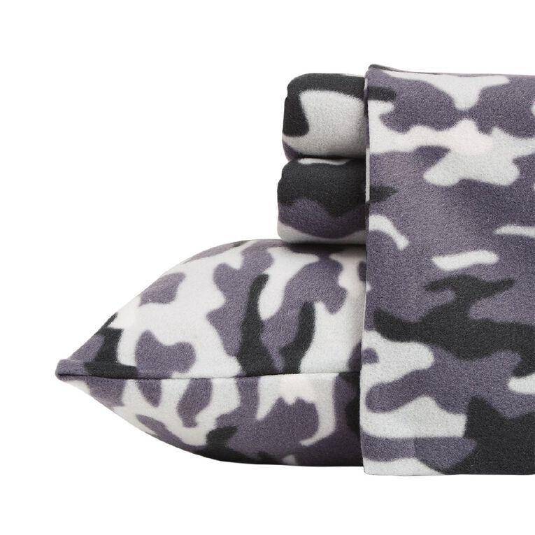Living & Co Sheet Set Polar Flannel Printed Cadet Grey Queen, Grey, hi-res