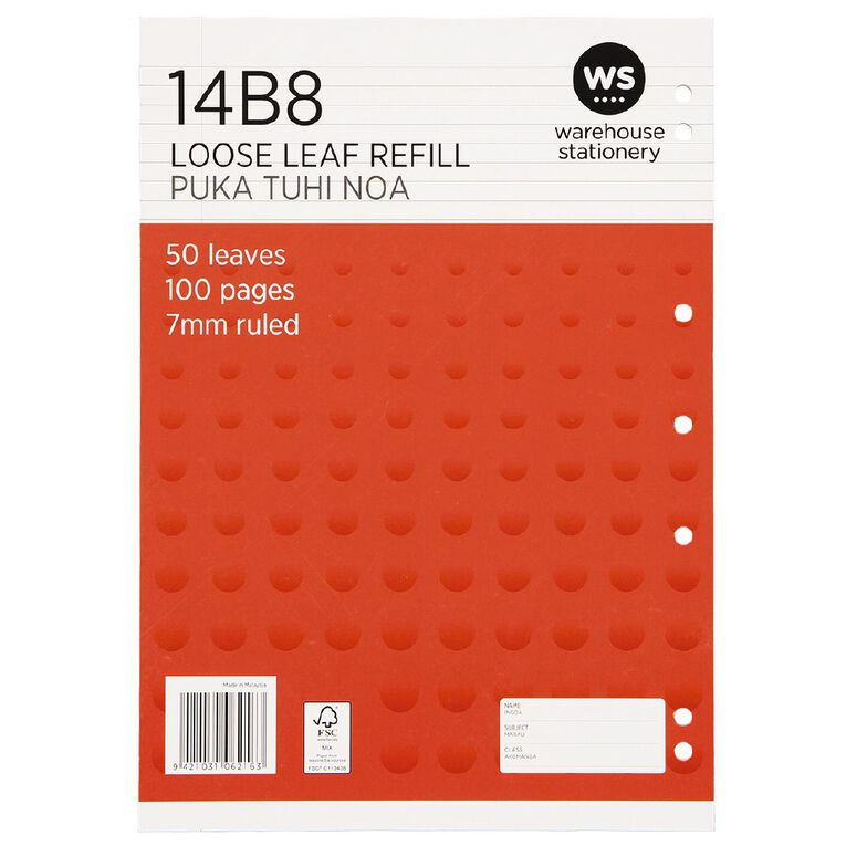WS Pad Refill 14B8 7mm Ruled 50 Leaf Punched Red, , hi-res