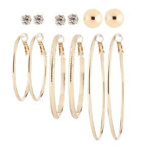 Basics Brand Stud Hoop Gold Earrings 6 Pairs