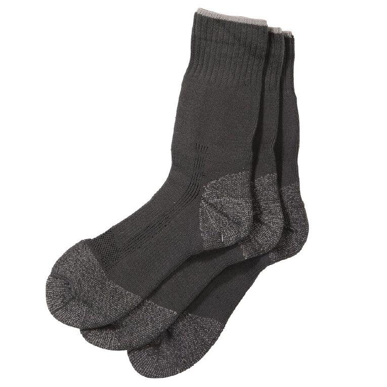 Rivet Men's Steelcap Work Socks 3 Pack, Charcoal, hi-res