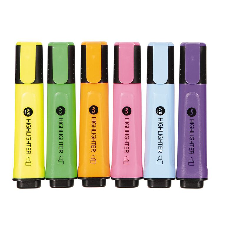 WS Highlighters 6 Pack Mixed Assortment 6 Pack, , hi-res