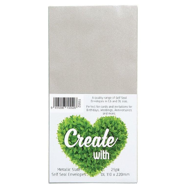Create With DL Envelopes 25 Pack Metallic Slate, , hi-res