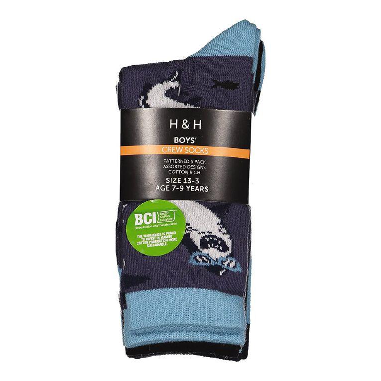 H&H Boys' Jacquard Crew Socks 5 Pack, Grey, hi-res