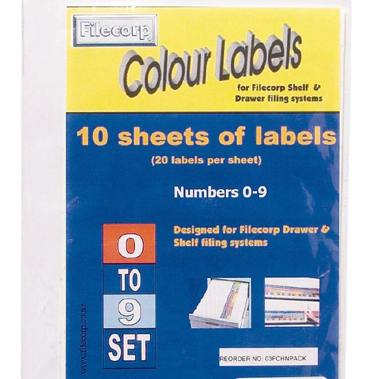 Filecorp Labels Set Numeric 0-9 Half Sheet Pack, , hi-res