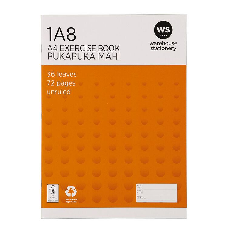 WS Exercise Book 1A8 Blank 36 Leaf Unruled 297 x 210mm Orange A4, , hi-res
