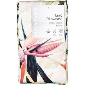 Living & Co Pillowcase Euro Cotton 180 TC Tropic White 65cm x 65cm