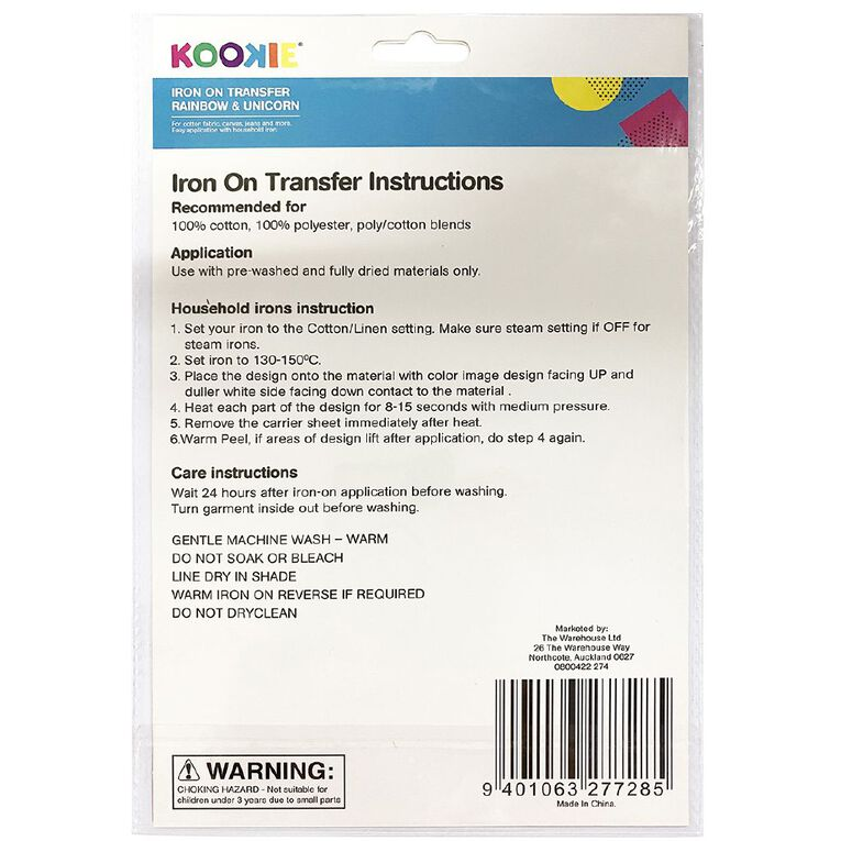 Kookie Iron on Transfer Rainbow & Unicorn, , hi-res