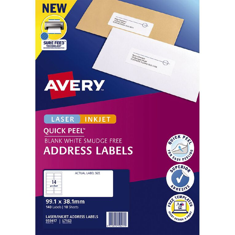 Avery Quick Peel Address Labels with Sure Feed 99.1 x 38.1 mm 140 Labels, , hi-res