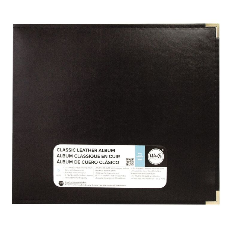 We R Memory Keepers Classic Leather Black Ring Album 12in x 12in, , hi-res