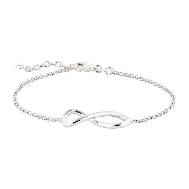 Sterling Silver Infinity Chain Bracelet, , hi-res