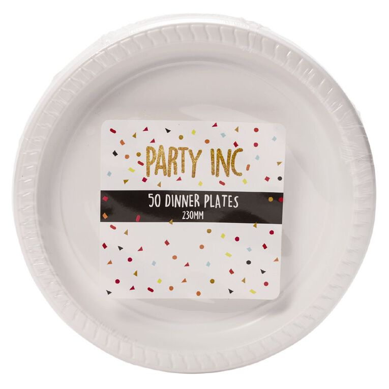 Party Inc Dinner Plates White 230mm 50 Pack, , hi-res