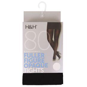 H&H Women's Full Figure Opaque Tights 80 Denier 1 Pack