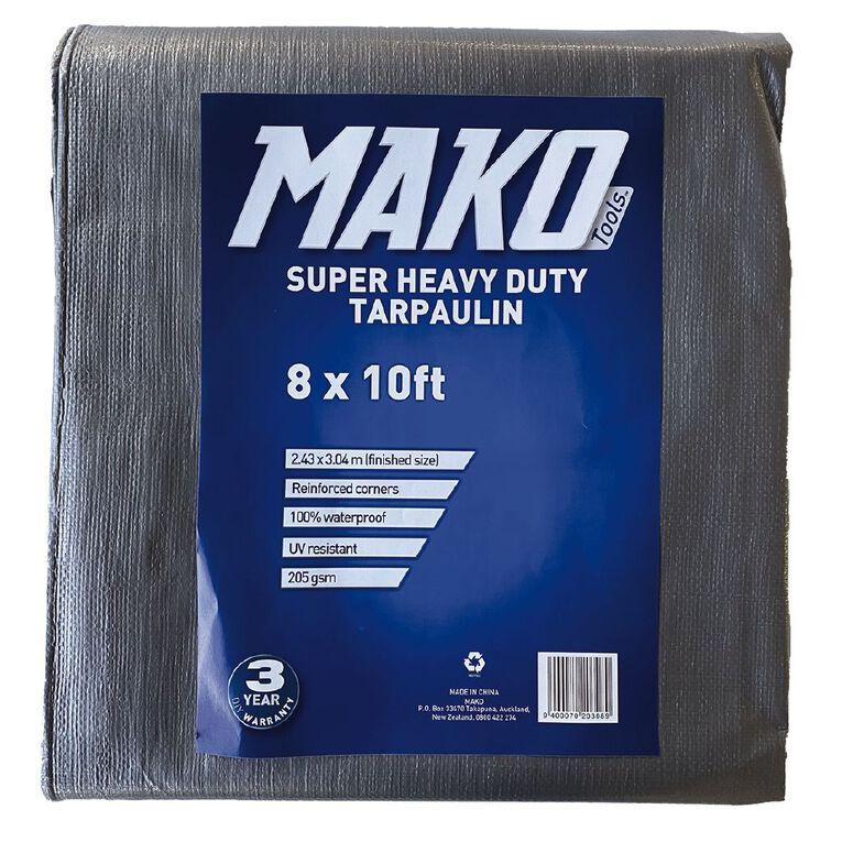Mako Tarpaulin Silver/Black 205gsm 8ft x 10ft, , hi-res