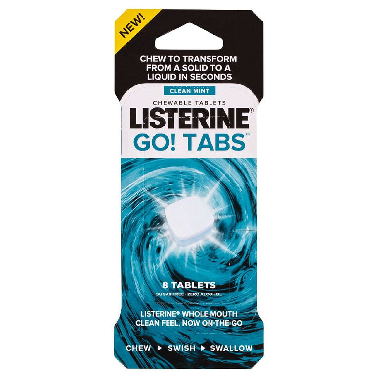 Listerine Go! Tabs Chewable Tablets Clean Mint 8 Pack, , hi-res