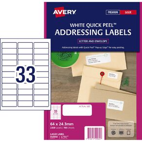Avery Laser Labels L7157-33 Pack 100
