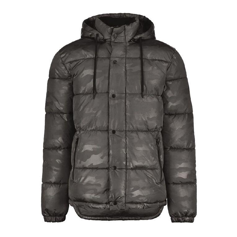 Garage Men's Puffer Hooded Jacket, Grey Mid, hi-res