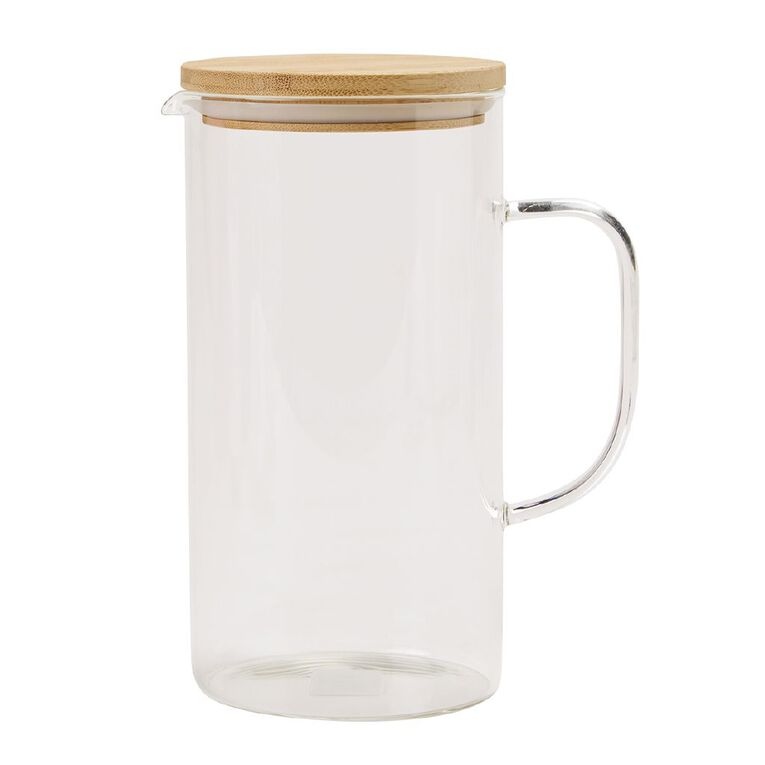 Living & Co Glass Ice Tea Jug with Bamboo Lid, , hi-res