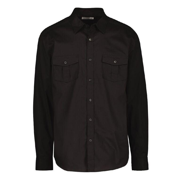 H&H Men's Long Sleeve Plain Cotton Shirt, Black, hi-res