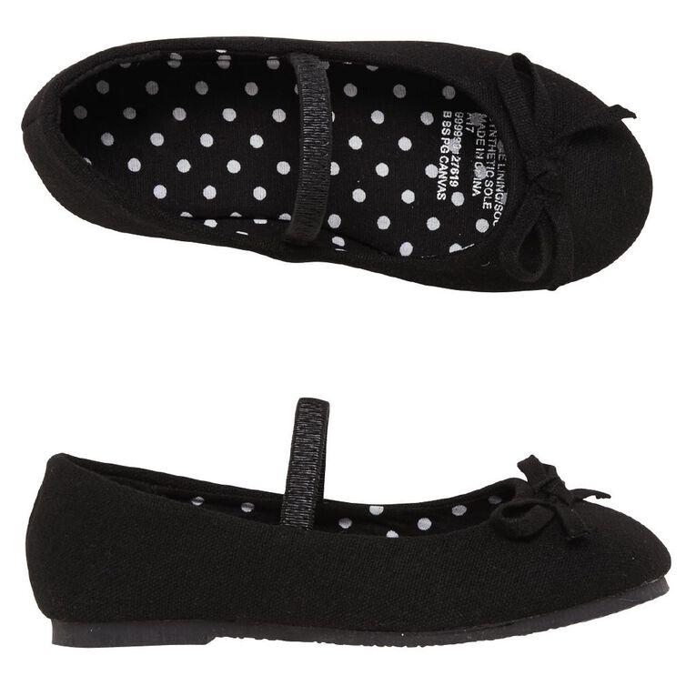 Young Original Kids' Canvas Ballet Shoes, Black, hi-res