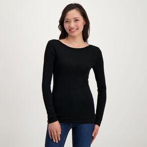 H&H Women's Merino Long Sleeve Boat Neck Top