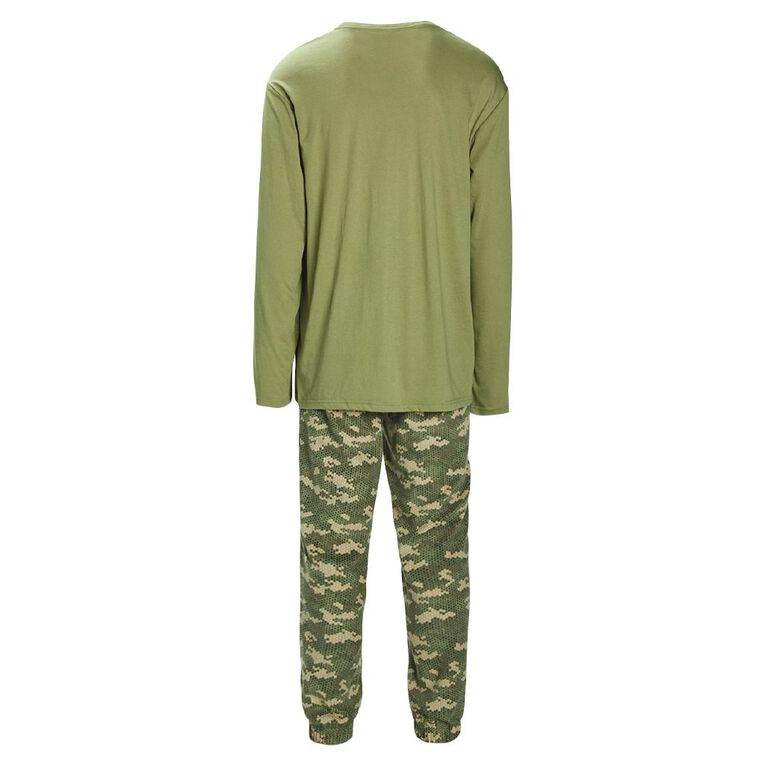H&H Men's Knit Fleece Pyjama Set, Khaki, hi-res