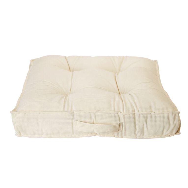 Living & Co Velvet Stripe Floor Cushion Natural 60cm x 60cm, Natural, hi-res