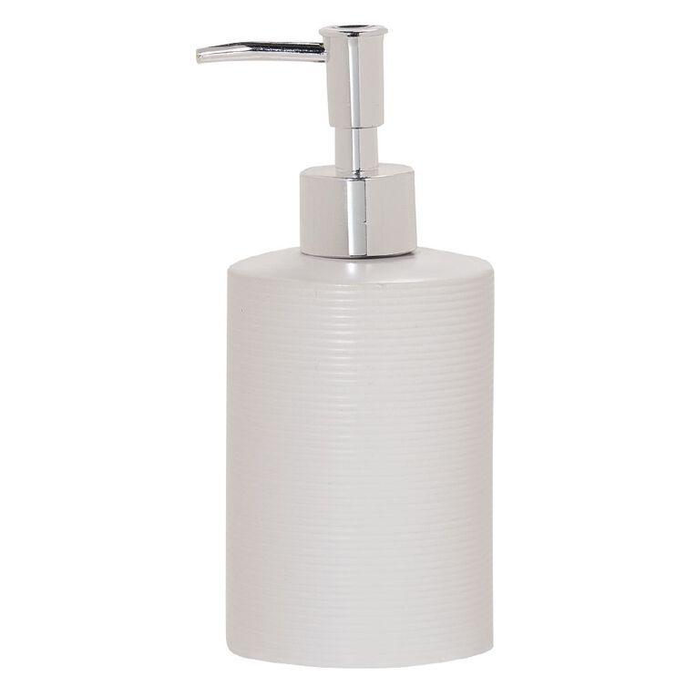 Living & Co Lotion Dispenser Ribbed White 400ml, White, hi-res