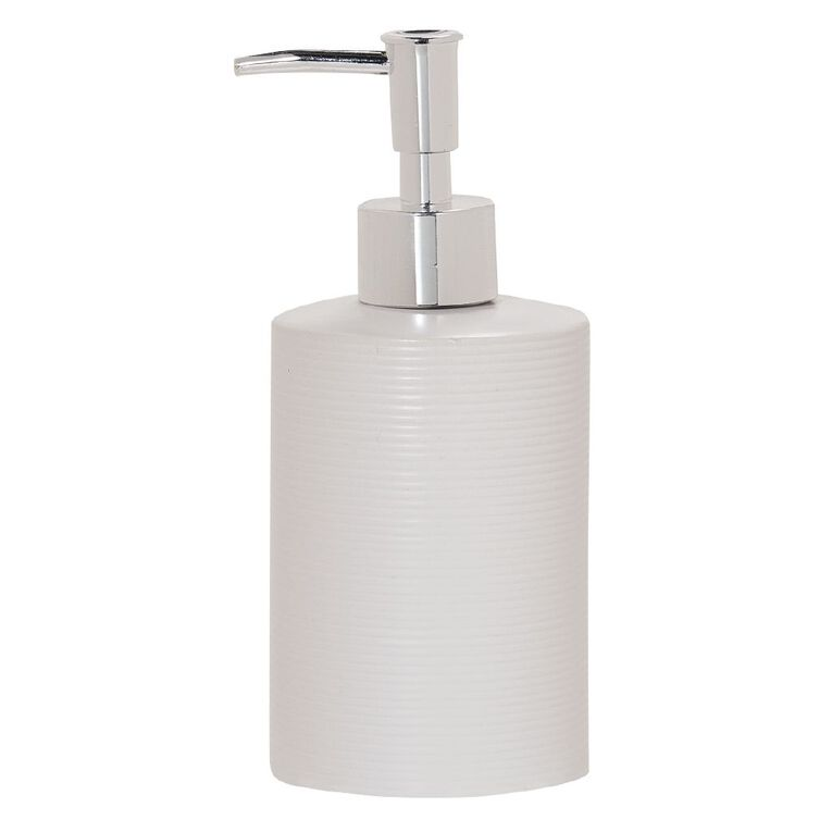 Living & Co Lotion Dispenser Ribbed White 400ml, White, hi-res image number null