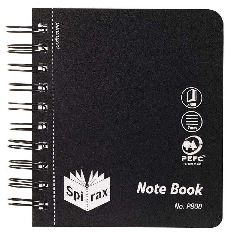 Spirax Notebook P800 Black 400 Page 120mm x 140mm, , hi-res