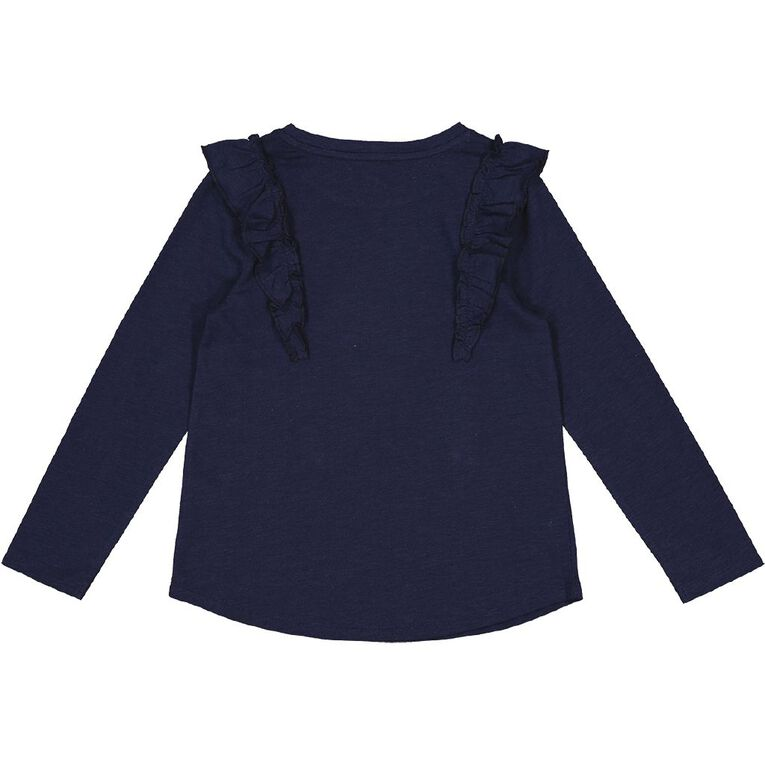 Young Original Long Sleeve Frill Front Tee, Blue Dark, hi-res