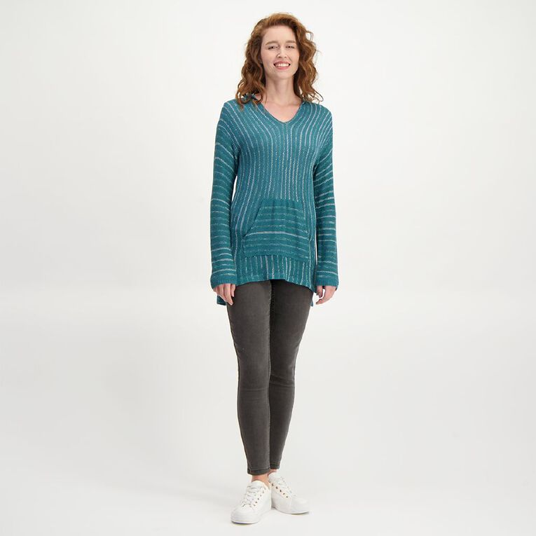 H&H Women's Long Sleeve Tape Surf Hoodie, Green Dark, hi-res image number null