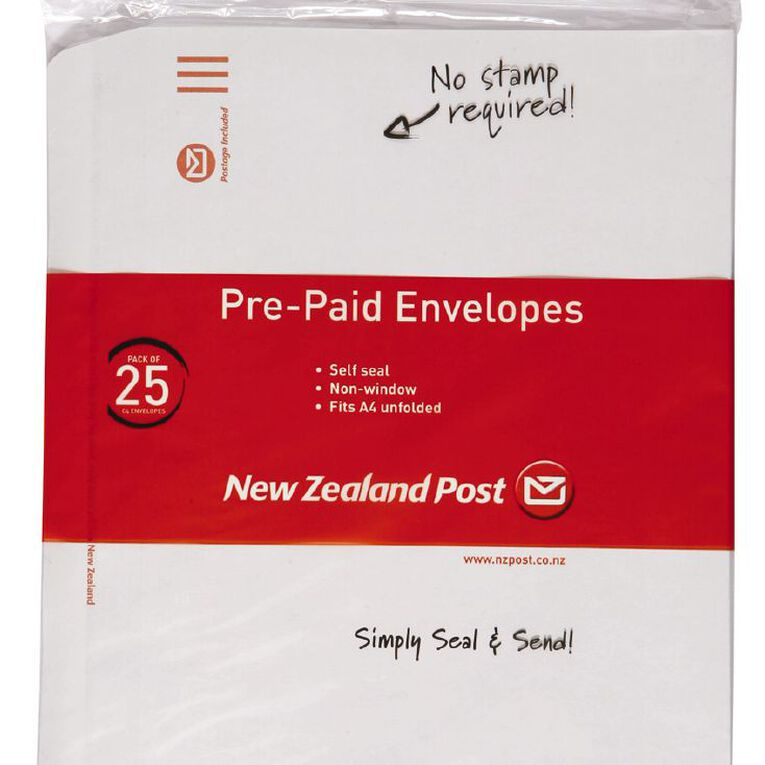 New Zealand Post Envelope Prepaid C4 Nonwindow Selfseal 25 Pack, , hi-res
