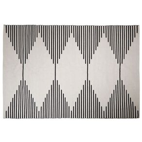 Living & Co Diamond Border Cotton Oversize Area Rug White 200cm x 300cm