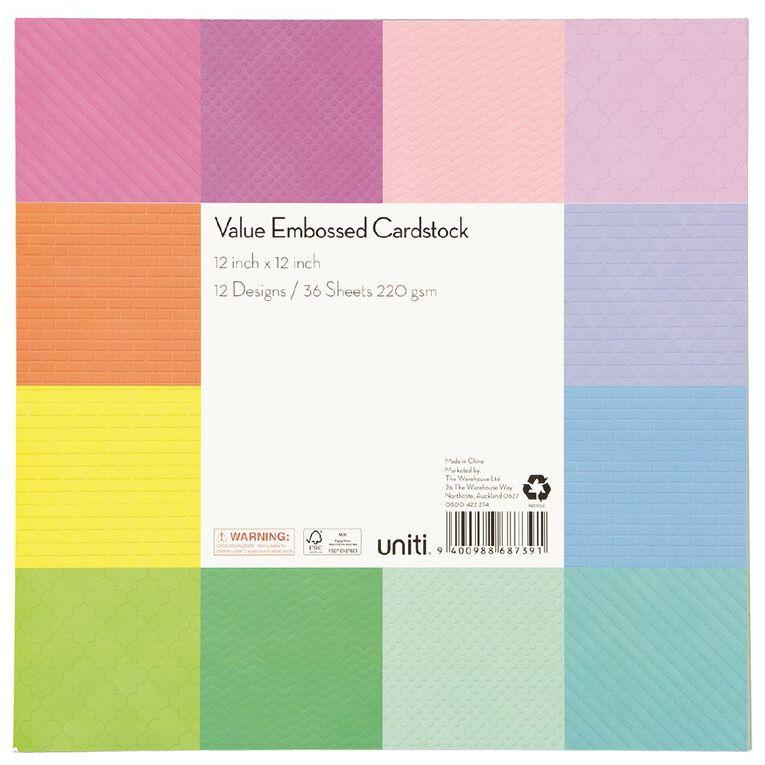 Uniti Value Cardstock Embossed 12in x 12in 36 Sheets, , hi-res