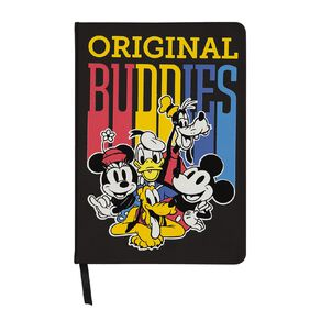 Mickey Mouse PU Notebook Wide Elastic With Loops Black A5